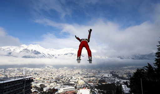Fannemel from Norway soars through the air during the training for the third jumping of the 63rd four-hills tournament in Innsbruck