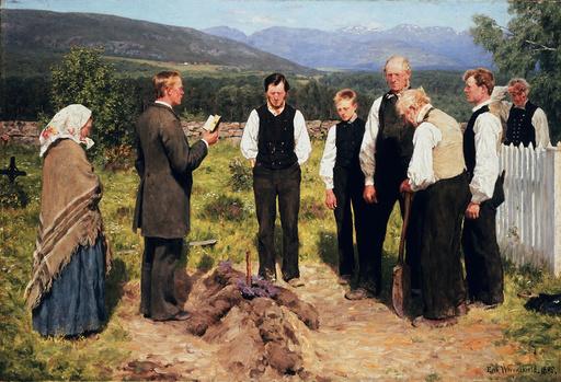 E.Werenskiold/ Begräbnis auf dem Lande - E.Werenskiold, Burial in the country -
