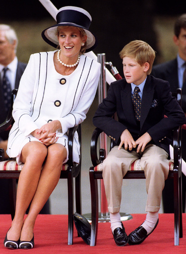 The Princess of Wales and Prince Harry attend VJ (Victory over Japan) Day ceremonies in the Mall Aug..