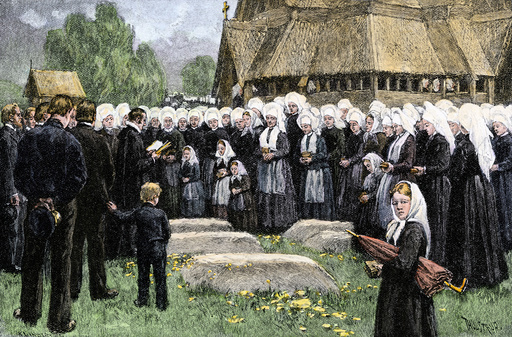 Norwegian village funeral, 1800s