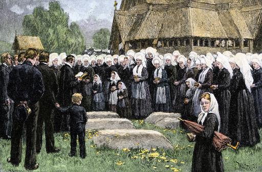 Norwegian village funeral, 1800s