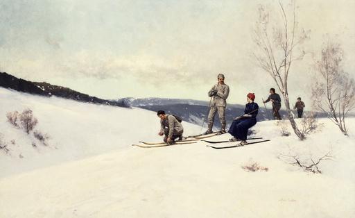 Skifahrer in Norwegen / Gem.v.A.Ender - A.Ender, Skiing in Norway. - Skieurs en Norvège / Peint. de A. Ender