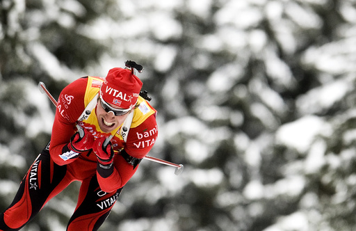 Norway's Svendsen skis during the men's 10 kilometres sprint race at the Biathlon World Cup in Anterselva