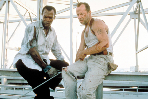 DIE HARD: WITH A VENGEANCE, from left: Samuel L. Jackson, Bruce Willis, 1995, TM & Copyright © 20th