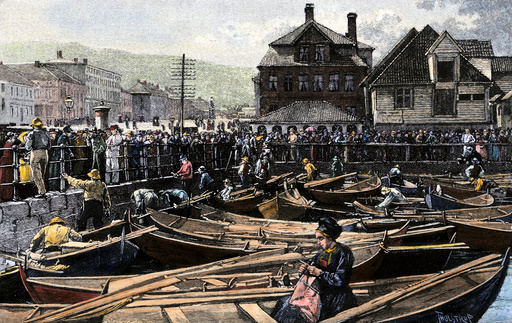 Fish market at a Norwegian port, 1880s