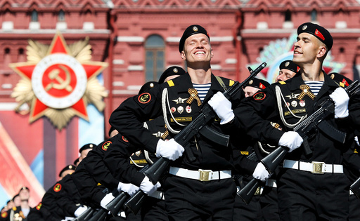 Russian servicemen march during Victory Day parade to mark end of World War Two at Red Square in Moscow