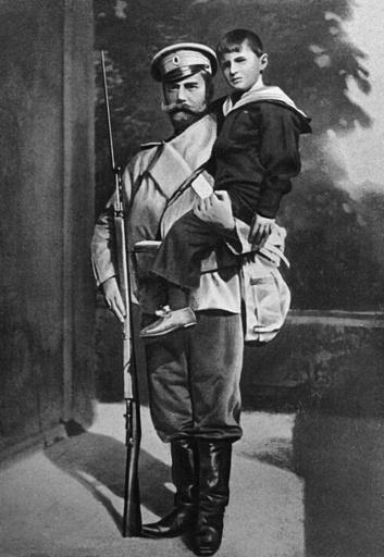Tsar Nicholas II holding his son, the Tsarevich Alexei