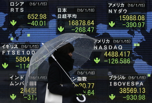 A pedestrian holding an umbrella walks past at an electronic board showing the stock market indices of various countries outside a brokerage in Tokyo
