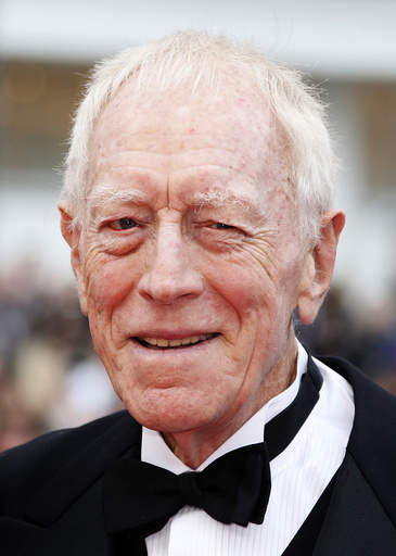 Actor Max von Sydow poses on the red carpet as he arrives for the screening of the film