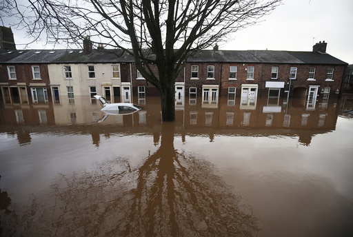 The city centre in seen under flood waters in Carlisle, north west England