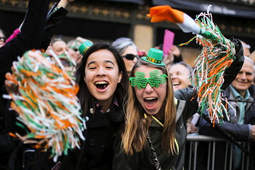 People take part during the St. Patrick's Day parade in New York
