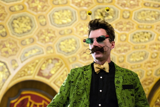 Daniel Lawlor poses for a photograph at the 2015 Just For Men National Beard & Moustache Championships at the Kings Theater in the Brooklyn borough of New York