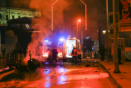 Police arrive at the site of an explosion in central Istanbul