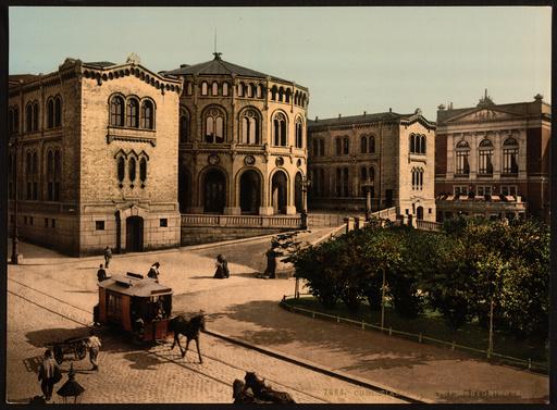 Storthings Bygningen (i.e., Stortingsbygningen) Christiania,