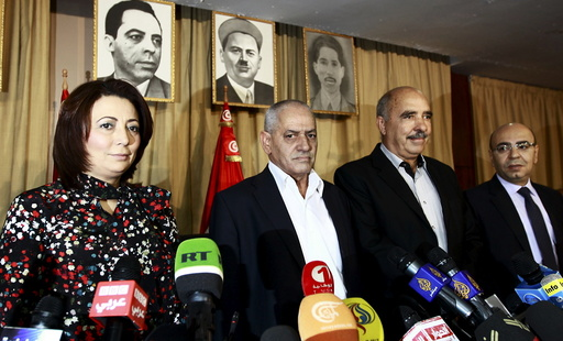 File photo of Tunisia's National Dialogue Quartet leaders before a news conference in Tunis