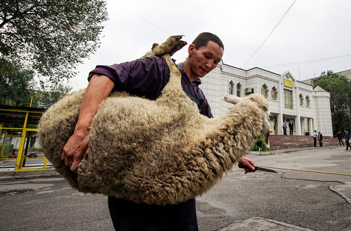A butcher carries a sheep for slaughtering to mark Kurban-Ait, also known as Eid al-Adha, in the Central Mosque in Almaty, Kazakhstan