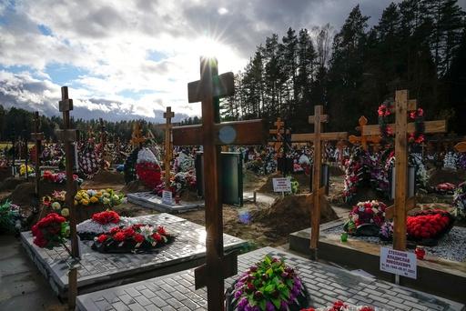 En gravlund for mennesker som har dødd av covid-19, utenfor Moskva. Foto: Aleksandr Zemljanitsjenko / AP / NTB