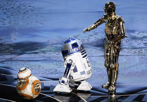 BB-8, R2-D2 and C-3PO perform at the 88th Academy Awards in Hollywood