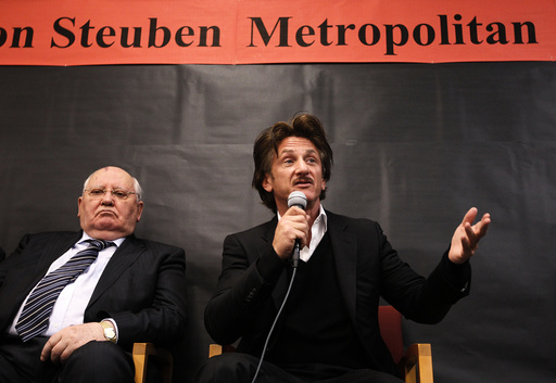 U.S. Actor Penn and Former Russian President Gorbachev speak with students at Frederick Von Steuben Metropolitan Science Center in Chicago