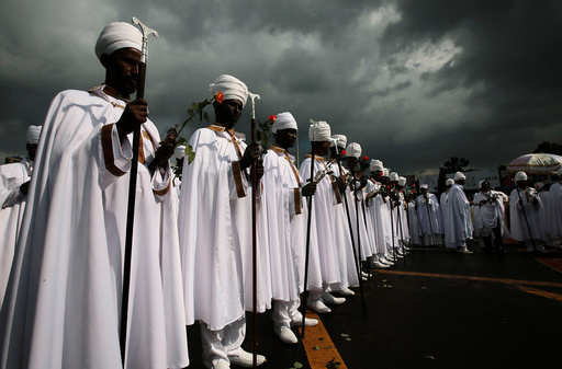 A church choir performs during the Meskel Festival to commemorate the discovery of the true cross on which Jesus Christ was crucified on at the Meskel Square in Ethiopia's capital Addis Ababa