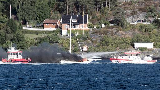 Brann i Fritifdbåt ved Hvitsten