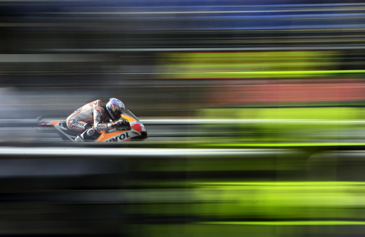Honda MotoGP rider Dani Pedrosa of Spain competes during the third free practice of the Czech Grand Prix in Brno