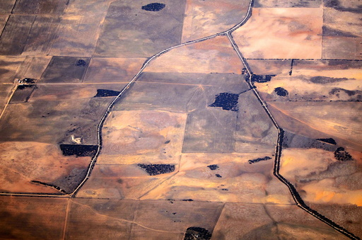 Roads can be seen intersecting drought-affected farming areas located in south-eastern Australia
