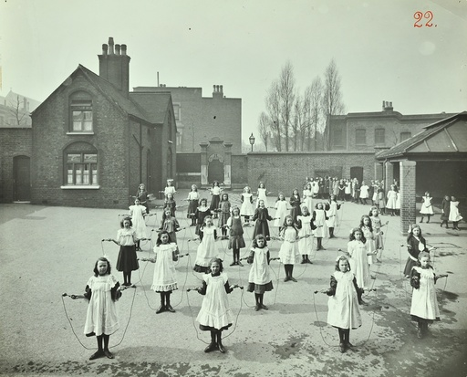 Girls skipping, Rushmore Road Girls School, Hackney, 1908. Artist: Unknown.
