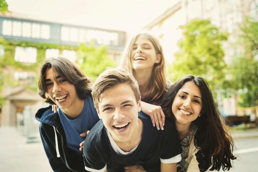 Portrait of teenagers enjoying outdoors