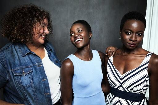 Liesl Tommy, actress Lupita Nyong'o and Danai Gurira, who wrote the play
