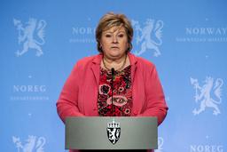 Statsminister Erna Solberg under en pressekonferanse om koronasituasjonen onsdag. Foto: Vidar Ruud / NTB
