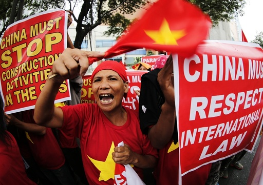 Protest against China's deployment of surface-to-air missile system in the disputed South China Sea