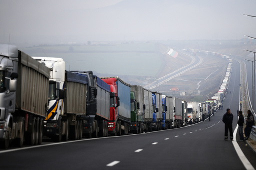 Trucks are seen on a highway near the Kulata border crossing between Bulgaria and Greece