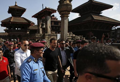 David Beckham walks at Bhaktapur Durbar Square