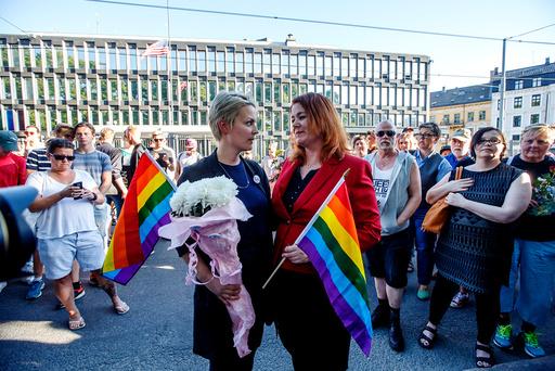 Minnemarkering foran den amerikanske ambassaden i Oslo.