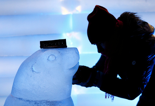 A sculptor carves a sculpture depicting a seal at the Snow and Ice Sculpture Festival
