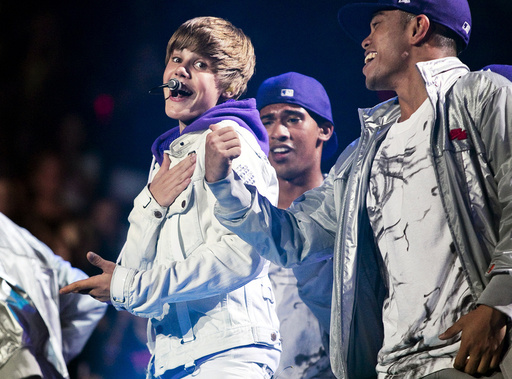 Canadian singer Justin Bieber performs at Madison Square Garden in New York
