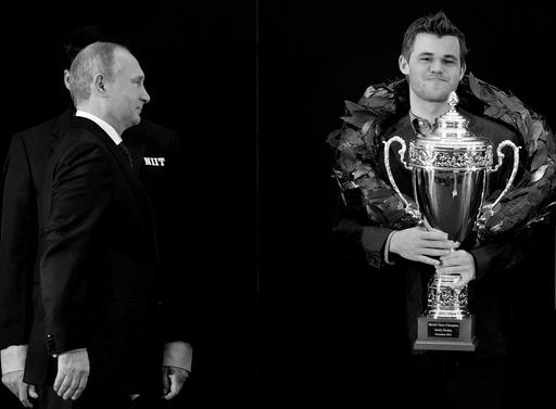 Russisk president Vladimir Putin på vei til å gratulerer Magnus Carlsen under medaljesermonien.