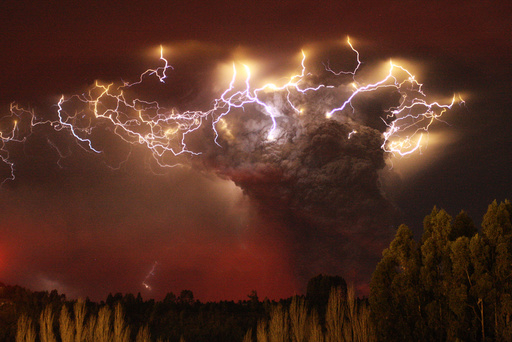 Lightning flashes around the ash plume above the Puyehue-Cordon Caulle volcano chain near Entrelagos