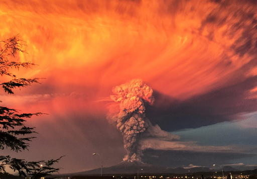 Smoke and ash rise from the Calbuco volcano as seen from the city of Puerto Montt