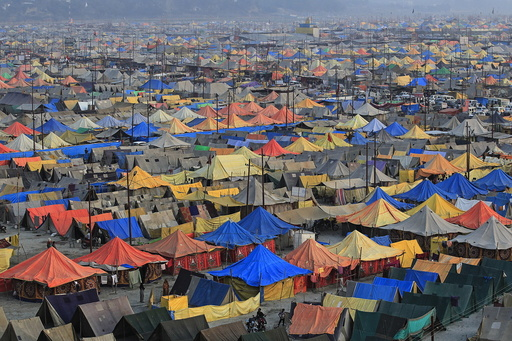 A general view of a giant tent city built for pilgrims attending the Magh Mela, a month-long Hindu festival, in Allahabad