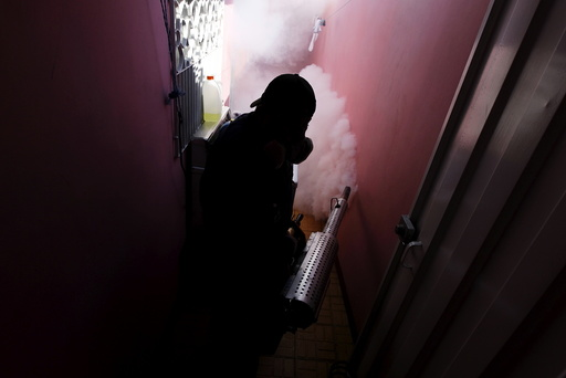 A municipal health worker fumigates a home as part of the city's effort to prevent the spread of Zika virus' vector, the Aedes aegypti mosquito, in Tegucigalpa