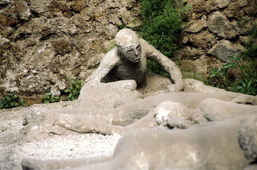 Body cast of victim of Pompeii eruption