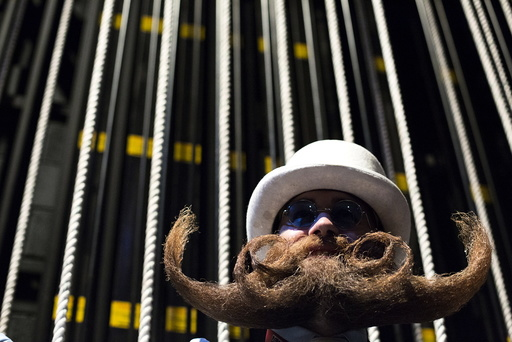 Adam Gazda from Newark, Delaware, poses for a photograph at the 2015 Just For Men National Beard & Moustache Championships at the Kings Theater in the Brooklyn borough of New York