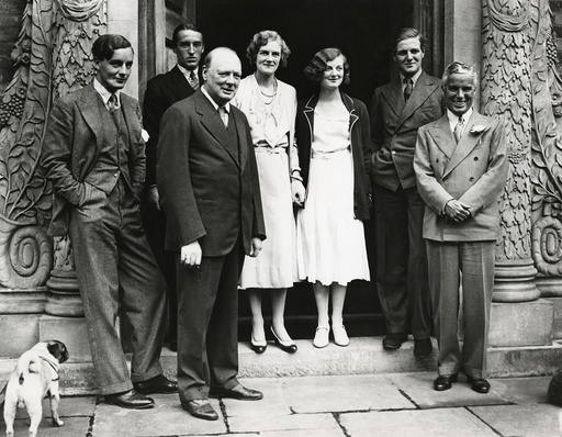Winston Churchill with Charlie Chaplin and others, 1931