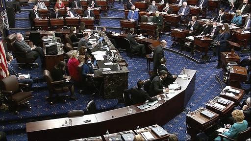 Senatet under avstemmingen om å kalle inn vitner i riksrettssaken mot Donald Trump. Foto: Senate Television via AP / NTB