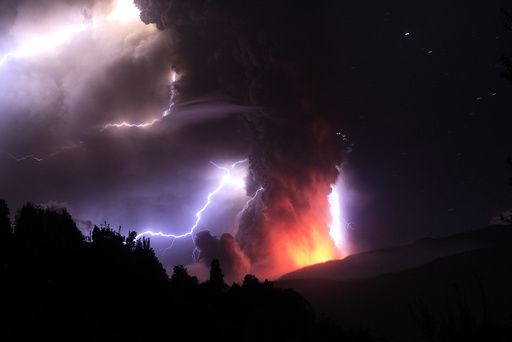 Lightning bolts strike around the Puyehue-Cordon Caulle volcanic chain near southern Osorno city