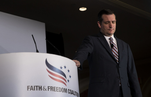 Sen. Ted Cruz (R-Texas) leads a moment of silence for victims of the Charleston church shootings at the Faith & Freedom Coalitionâäôs Road to Majority policy conference.