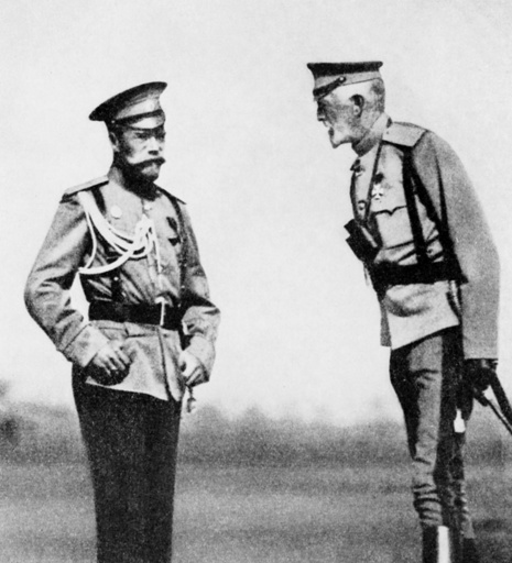 Tsar Nicholas II of Russia with Grand Duke, WW1