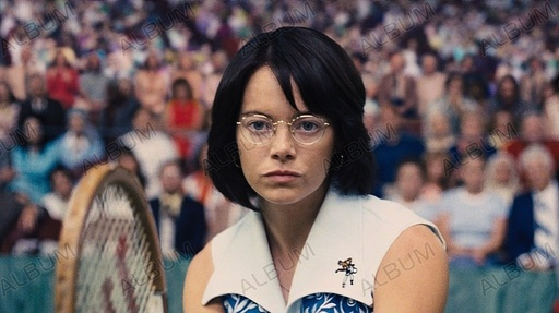 BATTLE OF THE SEXES (2017), directed by JONATHAN DAYTON; VALERIE FARIS. EMMA STONE.